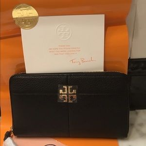 Tory Burch continental wallet. Black leather new